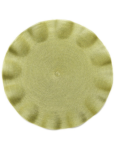 Linen Braid Ruffle Placemat, Olive