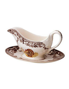 Spode Woodland Sauce Boat & Stand (Turkey)