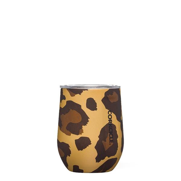 12 oz Stemless Luxe Leopard Wine Glass