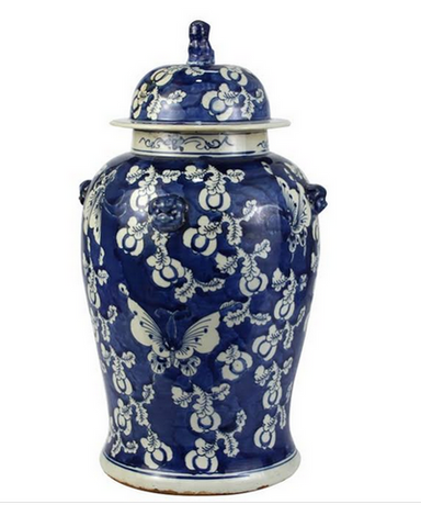 Navy Butterfly Floral Ginger Jar