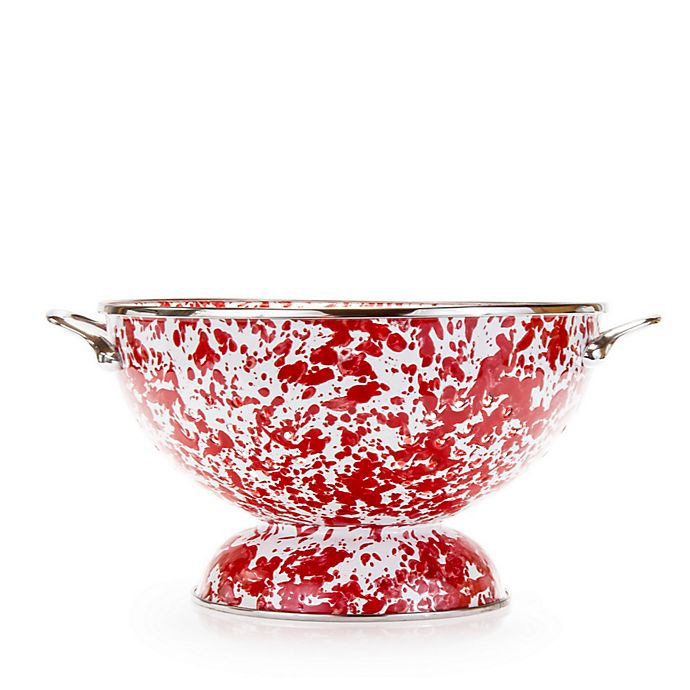 Large Colander, Red Swirl