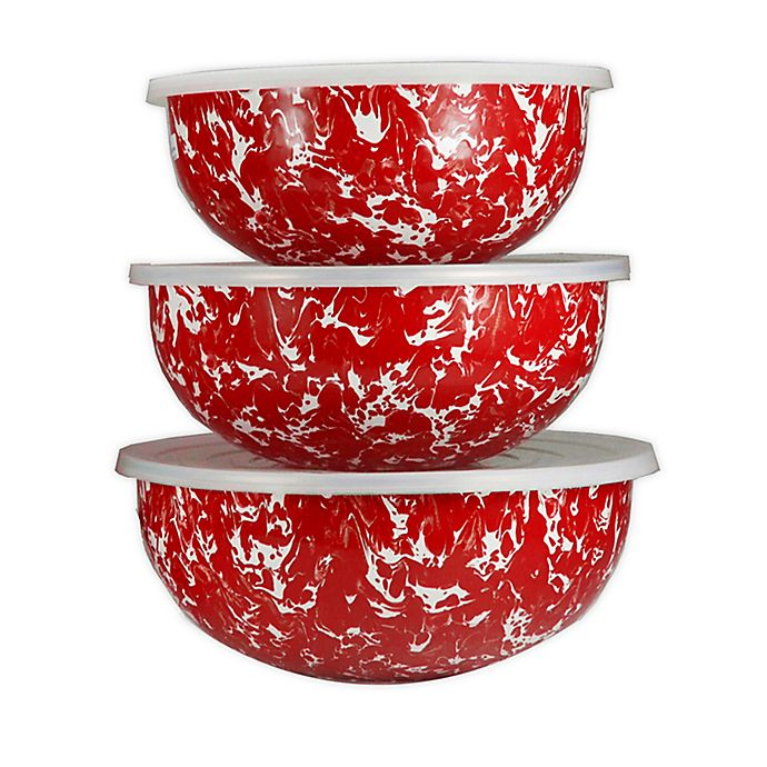 Mixing Bowls Set of 3, Red Swirl