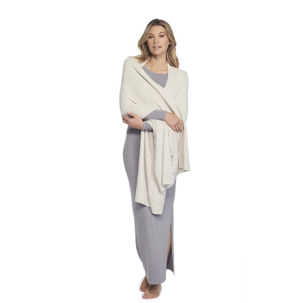 Heathered Travel Shawl, Bisque