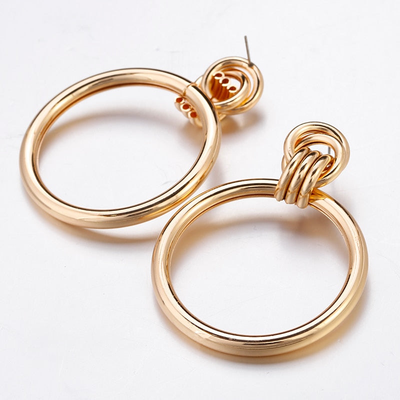 Big Round Hollow Out Punk Metal Drop Earrings