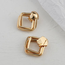 Load image into Gallery viewer, Metal Gold Color Square Drop Earrings