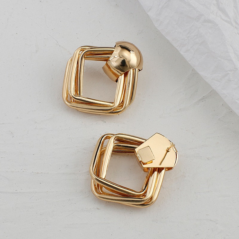 Metal Gold Color Square Drop Earrings