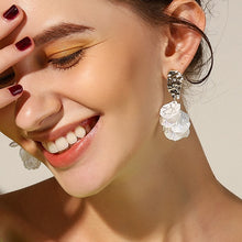 Load image into Gallery viewer, Korean White Shell Crack Flower Petal Drop Earrings