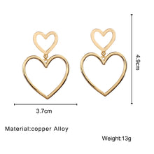Load image into Gallery viewer, Big Hollow Peach Heart Alloy Drop Earrings