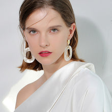 Load image into Gallery viewer, Simple White Resin Geometric Drop Earrings
