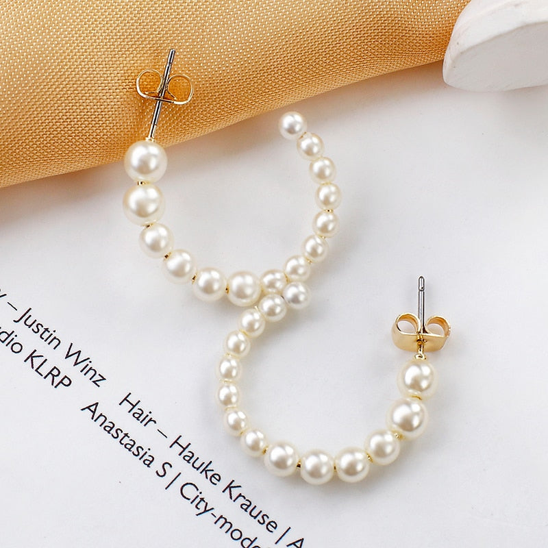 Pearl Small Circle Round Earrings