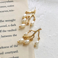 Load image into Gallery viewer, Temperament Sweet Simulated Pearl Tree Shape Earrings