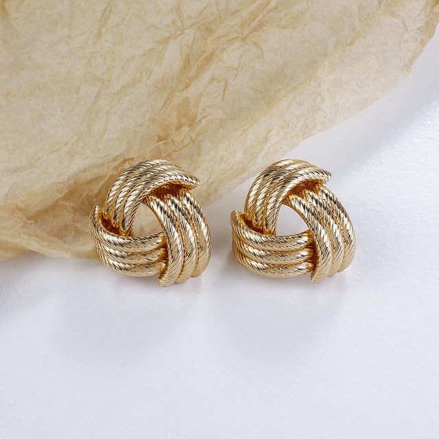Metal Knotted Twisted Big Stud Earrings