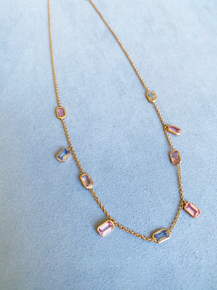Brick Brigade Necklace Mix Sapphire Emerald Cut