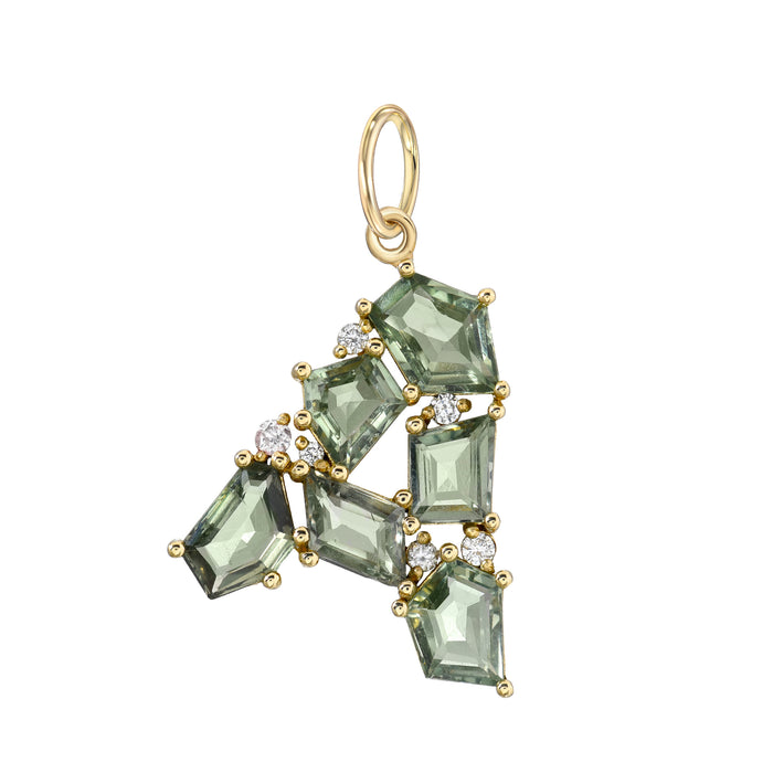 Mosaic Initial Green Sapphire Pendant