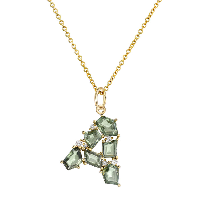 Mosaic Initial Green Sapphire on Rolo Chain