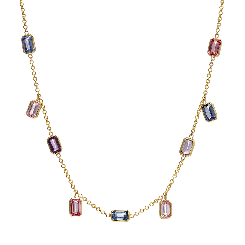 Brick Brigade Emerald Cut Necklace Multi-Sapphire