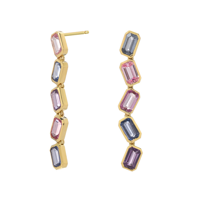 Brick Stack Multi-Sapphire Earrings
