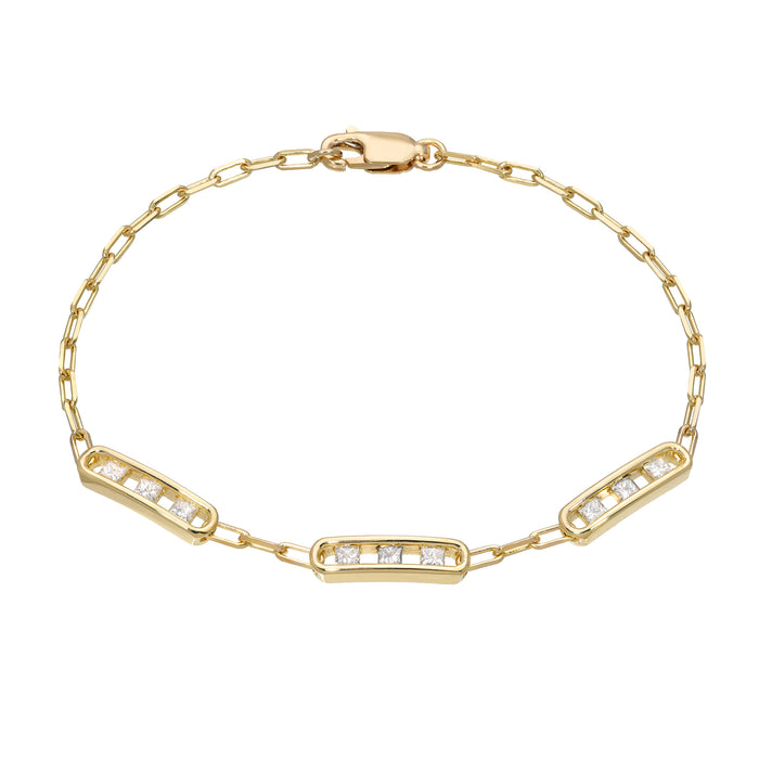 Tri Channel Link Bracelet Princess Diamonds