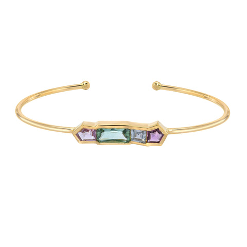 Arrow Tourmaline & Diamond Chain Bangle