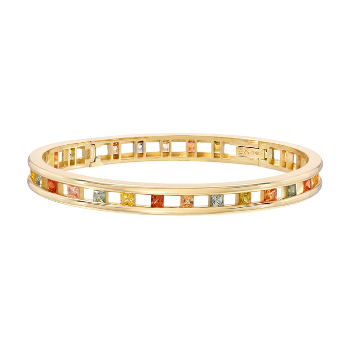 Tri Channel Princess Cut Bangle