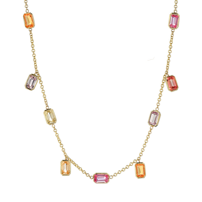Brick Brigade Emerald Cut Necklace Sherbet