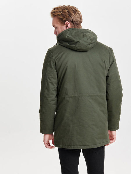 Only & Sons Ovant Long Jacket Forest Night