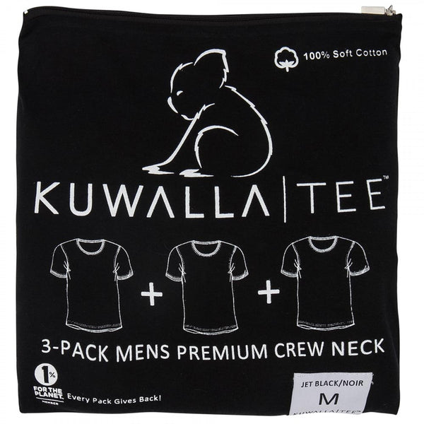 Kuwallatee 3 Pack Black Crew Neck
