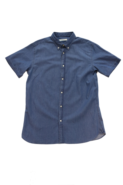 Jack & Jones Formal Denim Shirt S/S Plain Blue Denim
