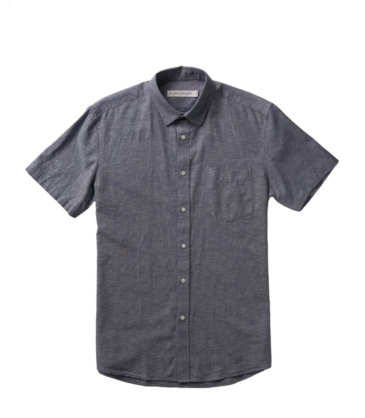 National Standards S/S Linen Mix Chambray Blue
