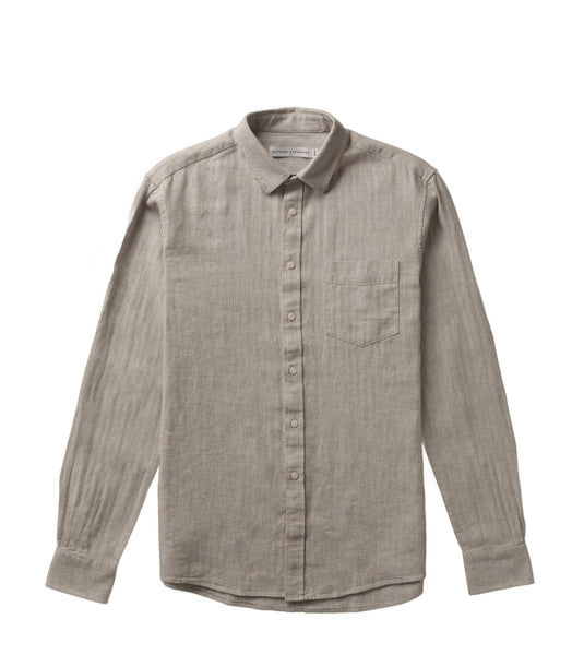 National Standards L/S Linen Mix Herringbone Grey