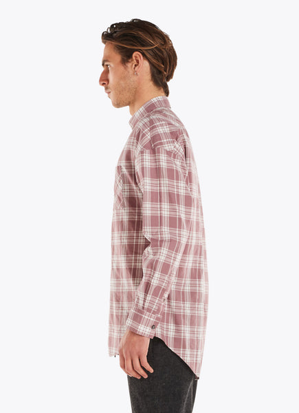 Zanerobe Check Rugger LS Shirt Mauve/White