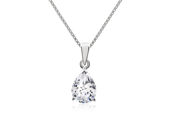 Pear Drop Solitaire Necklace - Forever Lovely Jewellery