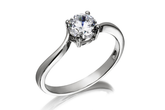 7mm Swirl Solitaire Ring - Forever Lovely Jewellery