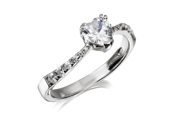 Solitaire Heart Swirl Ring - Forever Lovely Jewellery