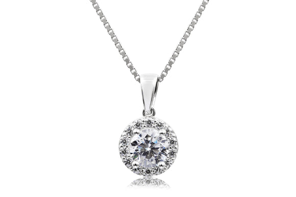 6mm Solitaire Halo Necklace