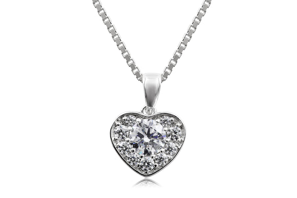 Pave Heart Necklace - Forever Lovely Jewellery