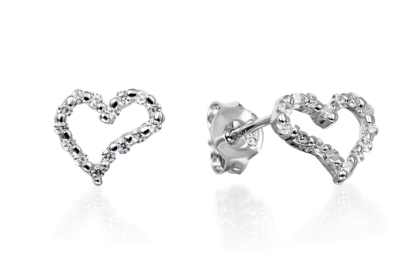Signature Open Heart Studs - Forever Lovely Jewellery