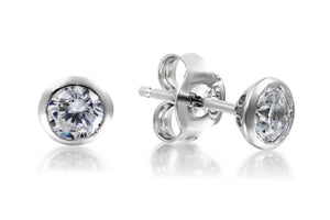 5mm Bezel Set Solitaire Studs - Forever Lovely Jewellery