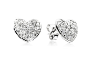 Pave Heart Studs - Forever Lovely Jewellery