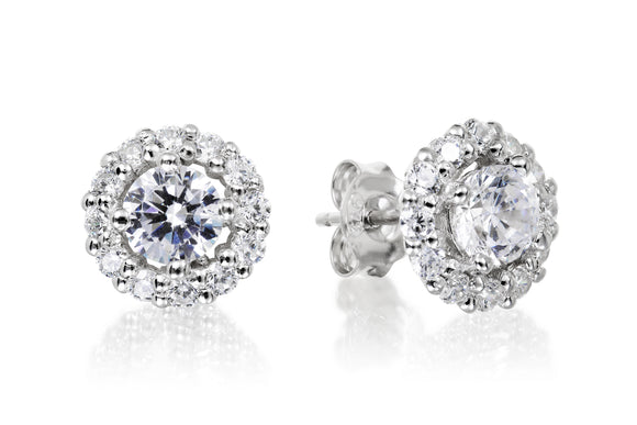 Halo Solitaire Studs - Forever Lovely Jewellery