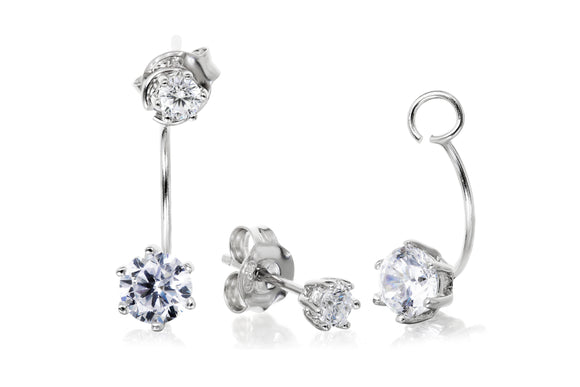 5mm Solitaire Ear Jackets - Forever Lovely Jewellery