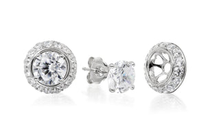 7mm Detachable Halo Solitaire Studs - Forever Lovely Jewellery