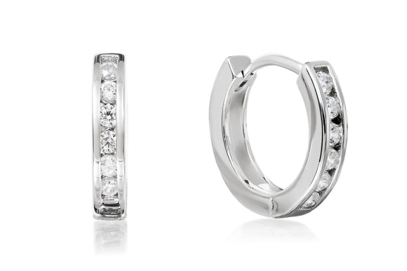 Channel Set Hoop Earrings - Forever Lovely Jewellery