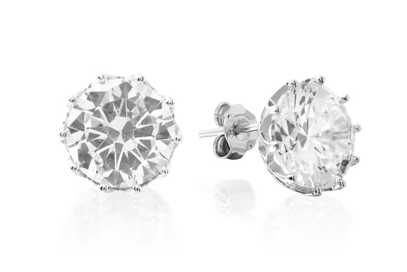 12mm Flower Solitaire Studs - Forever Lovely Jewellery