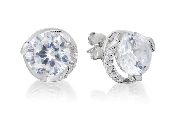 Swirl Solitaire Studs - Forever Lovely Jewellery