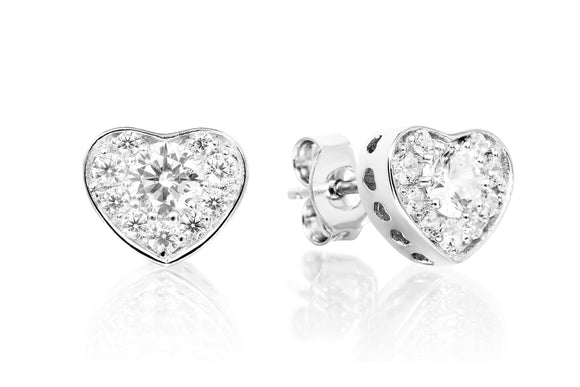 Solitaire Heart Studs - Forever Lovely Jewellery