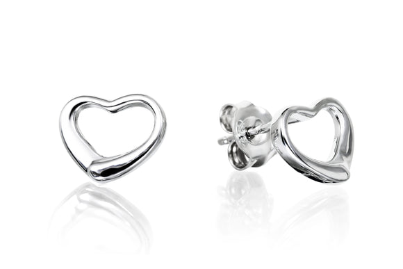 9mm Open Heart Studs - Forever Lovely Jewellery
