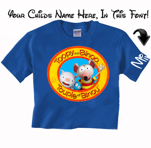 NEW Toopy and Binoo Puppet T with Custom Name T Shirt