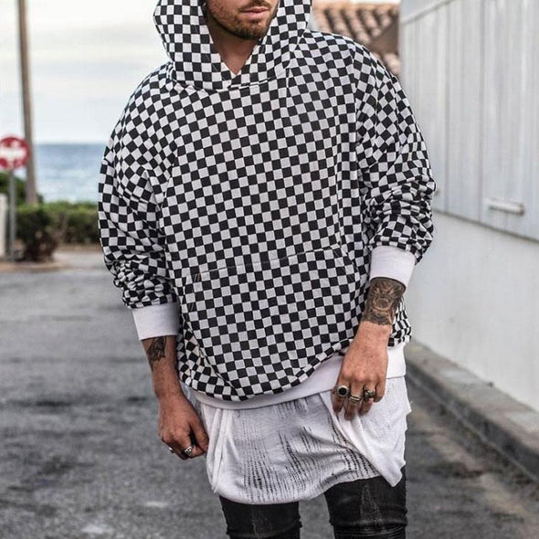 Men Hoodies Plaid Spring Autumn Loose Style