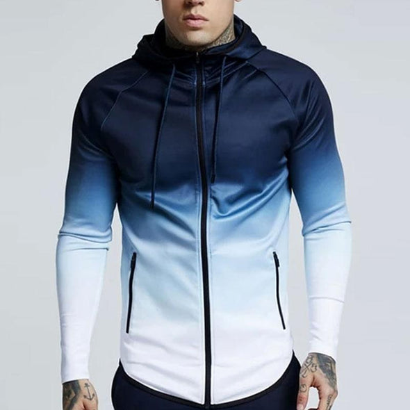 Men Hoodies Zipper Casual Pocket Hooded